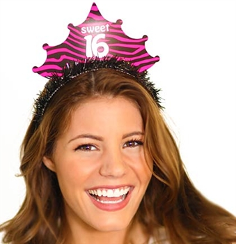 Fringed Zebra Sweet 16 Birthday Tiara