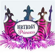 Birthday Princess Zebra Crown-Pink Fringe
