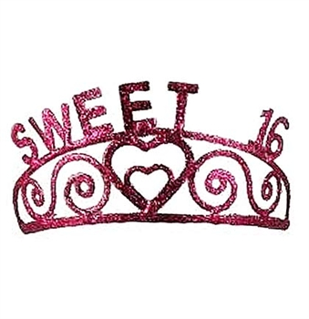 "Pink ""Sweet 16"" Sparkle Metal Tiara"