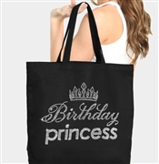 Birthday Princess with Glitter Tiara Rhinestone Tote