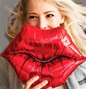Red Kissy Lips Mylar Balloon