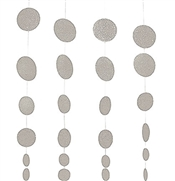 Set of 4 Silver Glitter Circle Dangler