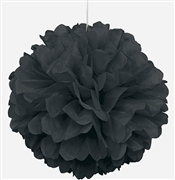 Giant Black Fluffy Pouf