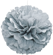 "Giant 16"" Silver Fluffy Pouf"