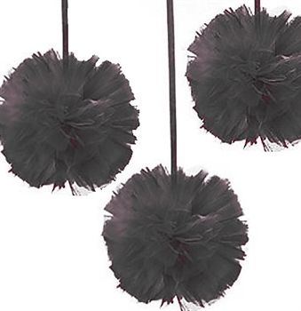 Set of 3 Black Tulle Poufs