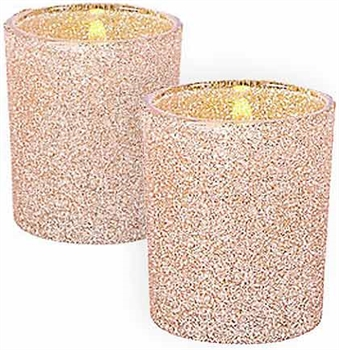 Set of 12 Gold Glitter Candle Holders