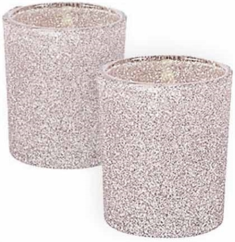 Set of 12 Silver Glitter Candle Holders