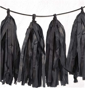 9ft Black Tissue Tassel Garland
