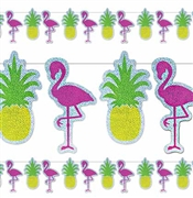 Flamingo & Pineapple Metallic Banner