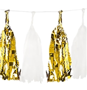Set of 16 Metallic Gold & White Tissue Tassels