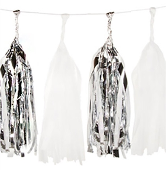 Set of 16 Metallic Silver & White Tissue Tassels