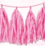 9ft Pink Tissue Tassel Garland