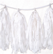 9ft White Tissue Tassel Garland
