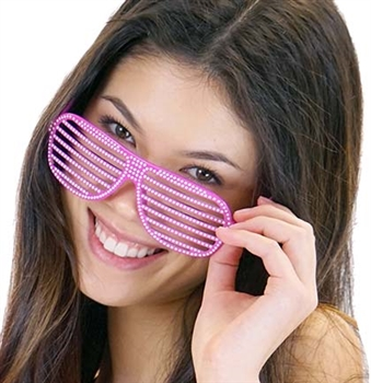 Hot Pink Bling Shutter Sunglasses