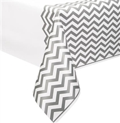 White & Silver Chevron Table Cover