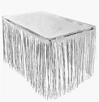 Fringe Metallic Silver Table Skirt
