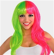 Hot Pink & Neon Green Wig